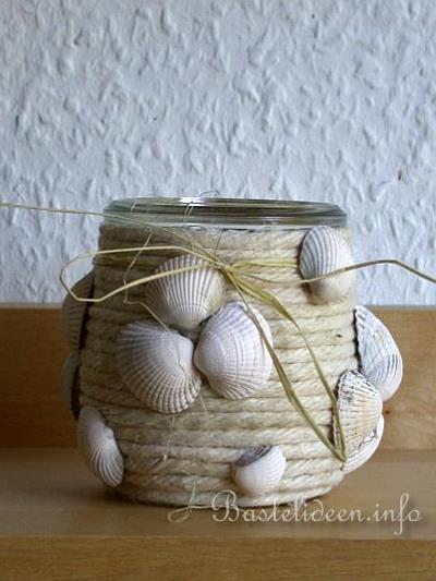kostenlose bastelideen sommerbasteln maritimes teelichtglas. Black Bedroom Furniture Sets. Home Design Ideas