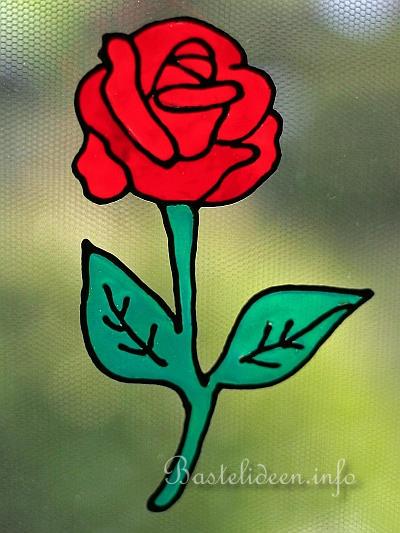 Bastelideen.info - Mit Windowcolor basteln - Rote Rose ...