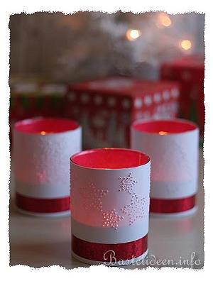 Basteln mit papier f r weihnachten teelichtgl ser mit gestochenen motiven - Glaser dekorieren fur weihnachten ...