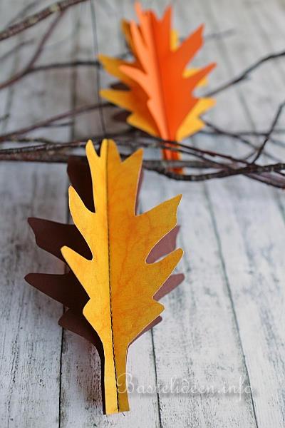 Basteln Mit Papier Herbst Und Halloween 3 D Blaetter Aus Papier