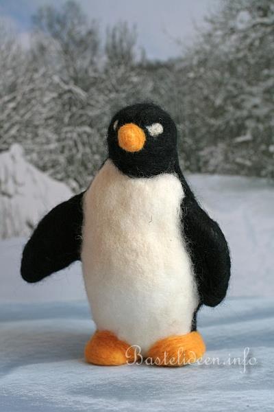 Winterbasteln Nadelfilzen Auf Styropor Flauschiger Pinguin