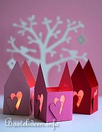 Bastelideen Für Den Frühling Papier Teelichthalter Häuschen Mit Herzen