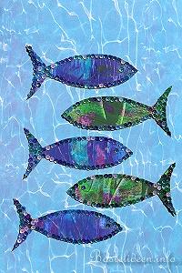Kostenlose malvorlage oder bastelvorlage fische - Basteln mit kindern sommer fenster ...