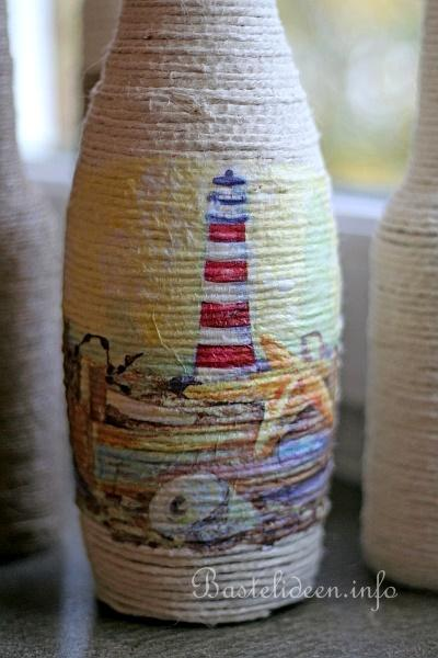 Recyclingbasteln Glasflasche Mit Jutegarn Beklebt Und