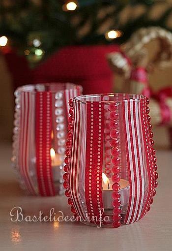 basteln f r weihnachten recyclingbasteln verzierte teelichthalter. Black Bedroom Furniture Sets. Home Design Ideas