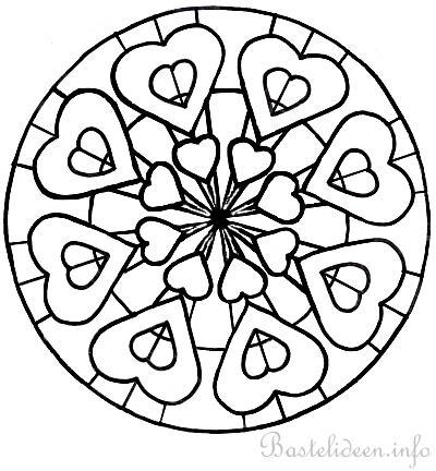 Ausmalbild Mandala Mit Herzen