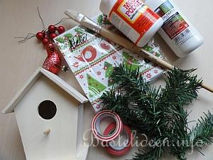 weihnachtsbasteln weihnachtliches vogelhaus basteln. Black Bedroom Furniture Sets. Home Design Ideas