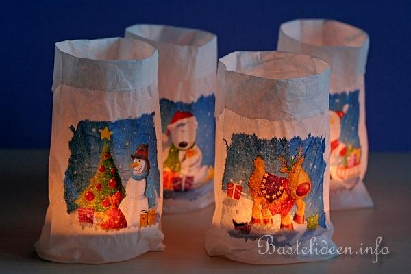 bastelidee weihnachtliche teelichter im glas mit motiv t te. Black Bedroom Furniture Sets. Home Design Ideas