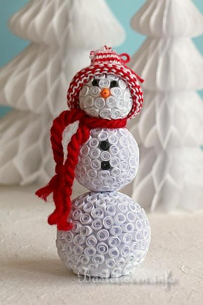 basteln im winter quilling deko schneemann