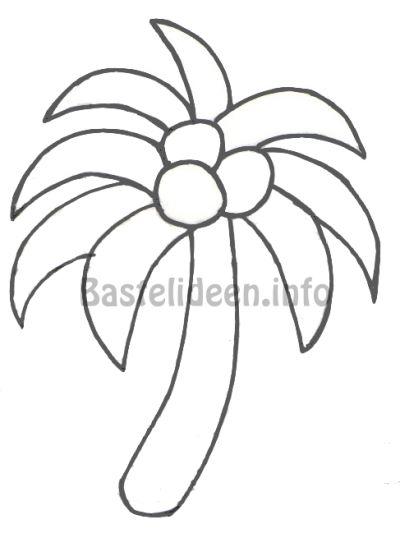 Kostenlose Bastelvorlage oder Malvorlage für Sommer - Palme