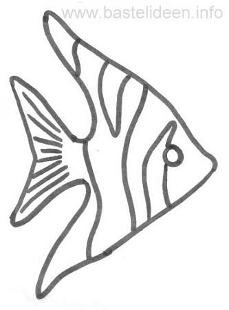 Kostenlose malvorlage bastelvorlage engelfisch - Fische basteln vorlagen ...