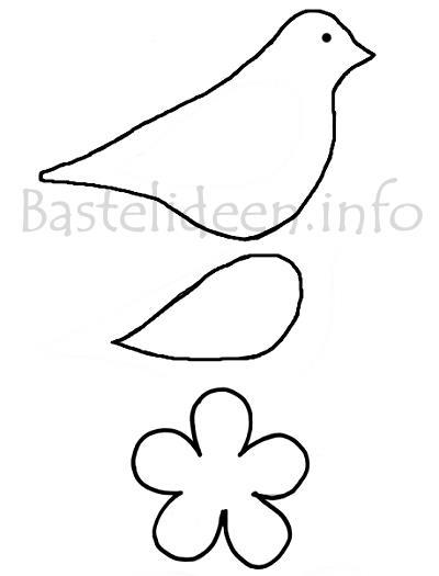 Bastelvorlage Vogel Und Blume Dekokette
