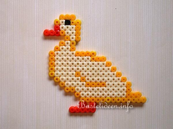 Frühlingsbasteln - Basteln mit Kindern - Bügelperlen Ente