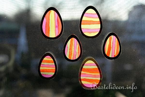 Osterbasteln mit Kindern - Bunte Eier als Fensterbilder zu Ostern