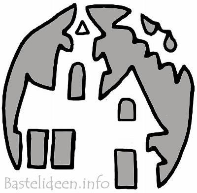 Halloweenbasteln - Spukhaus-Kürbis Bastelvorlage für Kürbis