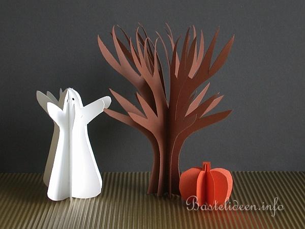 Halloween basteln gespenst baum und k rbis aus tonkarton for Bastelanleitung baum aus papier