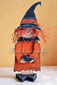 Halloweenbasteln   Holz Hexe Und Rabe