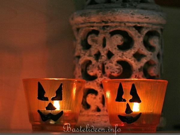 basteln mit kindern herbst und halloween teelichtglas mit kuerbisgesicht. Black Bedroom Furniture Sets. Home Design Ideas