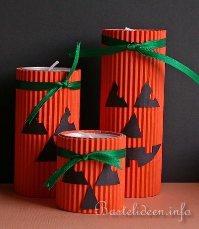 Basteln Mit Papier Herbstbasteln Herbstliche Teelichter