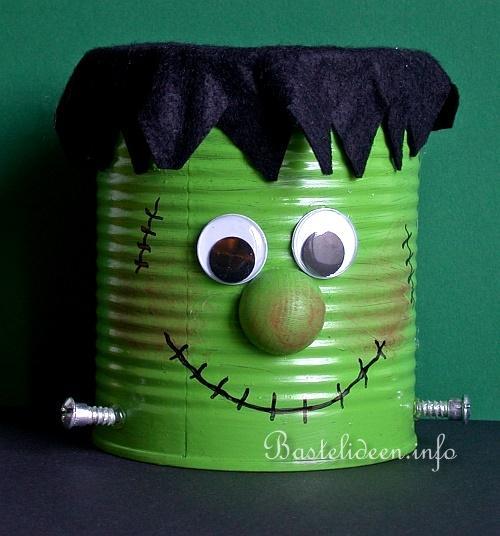 basteln mit kindern zu halloween frankenstein monster dose. Black Bedroom Furniture Sets. Home Design Ideas