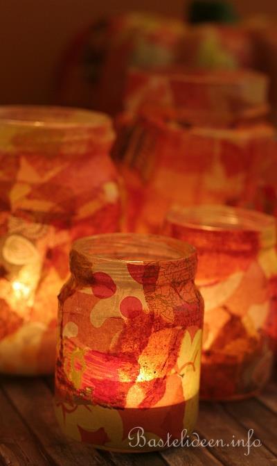 Dekoration für den Herbst - Herbstliche Teelichter mit