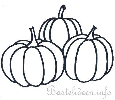 Herbstbastleln Drei Kuerbisse Bastelvorlage Oder Malvorlage