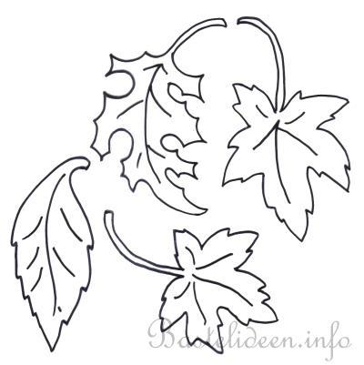 Bastelvorlage, Ausmalbild oder Malvorlage - Herbstblätter