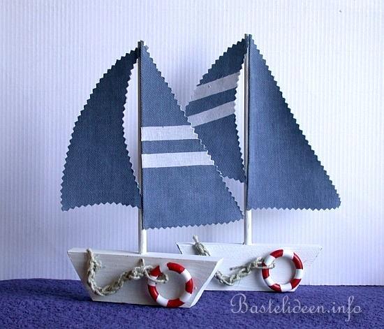basteln mit holz - laubsägearbeit - segelboot - sommerbasteln,