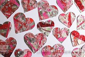 Bastelvorlage Herzen mittelgroße und kleine Herzen Lust