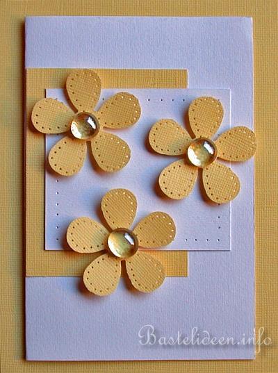 karten basteln fr hlingskarte grusskarte gelbe margariten. Black Bedroom Furniture Sets. Home Design Ideas