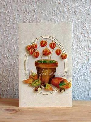 Herbstbasteln herbstliche lampions karte for Herbstbasteleien mit kindern basteln