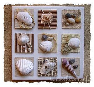 Keilrahmen Bild Mit Inchies   Seemuscheln Und Strandgut