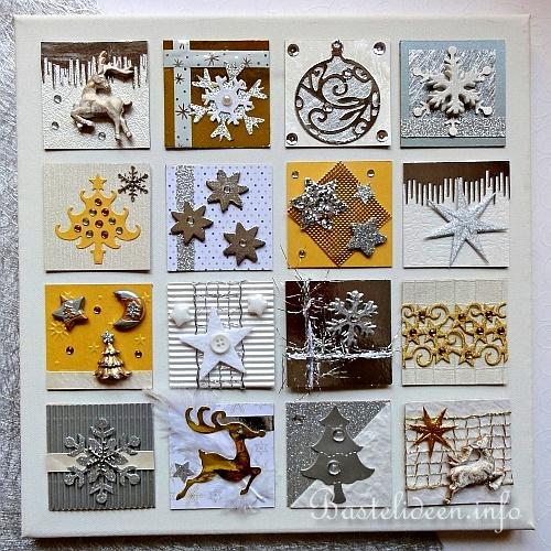 weihnachtsbasteln keilrahmen mit inchies zum thema weihnachten in weiss silber und gold. Black Bedroom Furniture Sets. Home Design Ideas