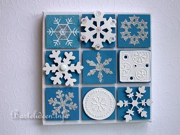 weihnachtsbasteln keilrahmen mit inchies zum thema schneeflocken. Black Bedroom Furniture Sets. Home Design Ideas