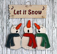 Laubsägearbeit - Schneemann Trio - Let it Snow