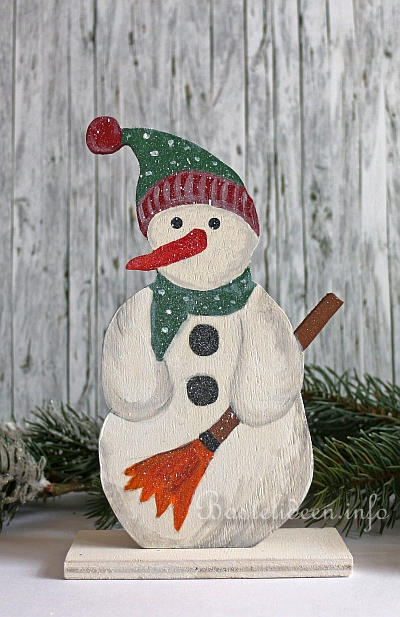 Winterbasteln Mit Holz Laubsägearbeit Winter Schneemann