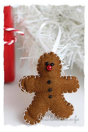 Weihnachtsbasteln - Nähen mit Filz - Lebkuchenmann ...