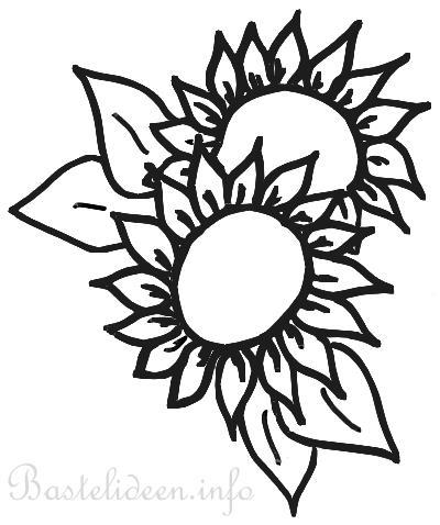 Kostenlose Bastelvorlage Sonnenblumen