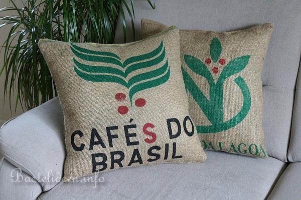 Dekoidee - Kaffeesack bzw. Jutesack Kissen nähen