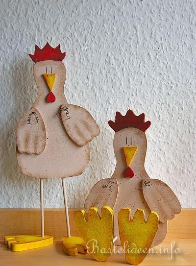Basteln Mit Holz - Laubsaegearbeit Mit Vorlage- Sitzendes Huhn
