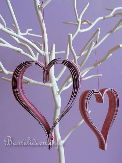 Valentinstag Basteln Mit Papier Papier Herzen Anhänger