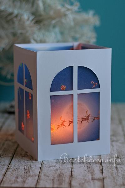 Weihnachtsbasteln - Weihnachtliche Papierlaterne selbst gebastelt
