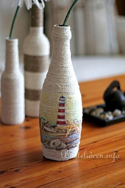 Recyclingbasteln glasflasche mit jutegarn beklebt und for Leere flaschen dekorieren
