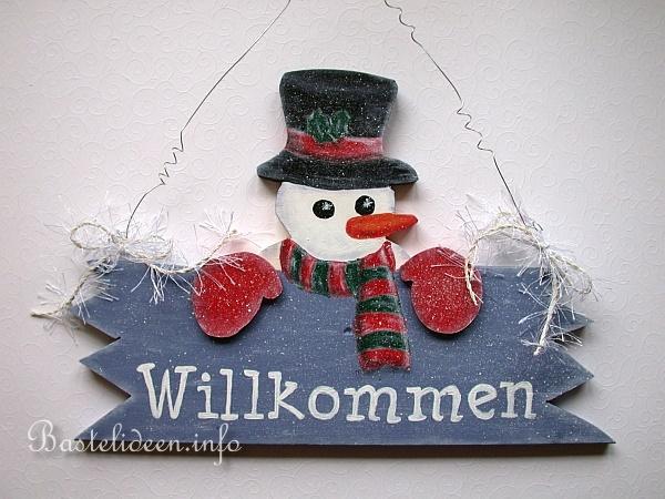 Basteln Mit Holz Winterbasteln Schneemann Willkommensschild