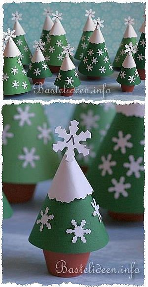 basteln advent adventskalender weihnachtsb ume aus tont pfen. Black Bedroom Furniture Sets. Home Design Ideas