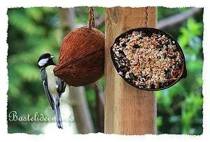 vogelfutter selber machen und kokosnussh lften damit bef llen. Black Bedroom Furniture Sets. Home Design Ideas