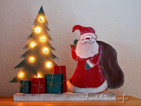 basteln mit holz weihnachtsmann und beleuchteter. Black Bedroom Furniture Sets. Home Design Ideas