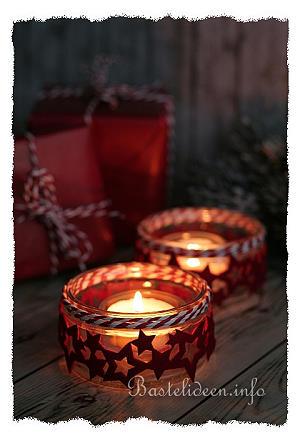 bastelidee f r weihnachten weihnachtlichter teelichthalter. Black Bedroom Furniture Sets. Home Design Ideas