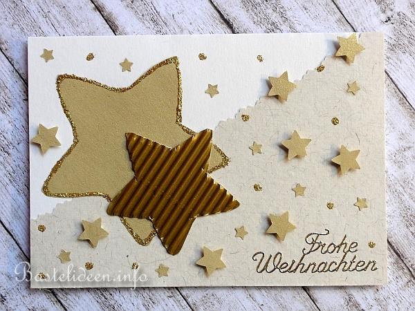 Weihnachtskarten Mit Sternen Basteln.Karte Basteln Fuer Weihnachten Goldene Sterne