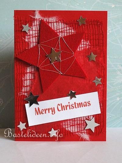 karte basteln fuer weihnachten happy holidays in rot. Black Bedroom Furniture Sets. Home Design Ideas